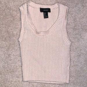 Nude/Cream Rib Knit Cropped Tank Top